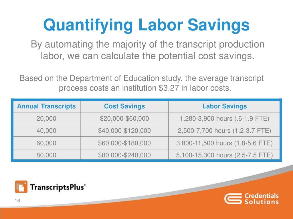 Quantifying Labor Savings
