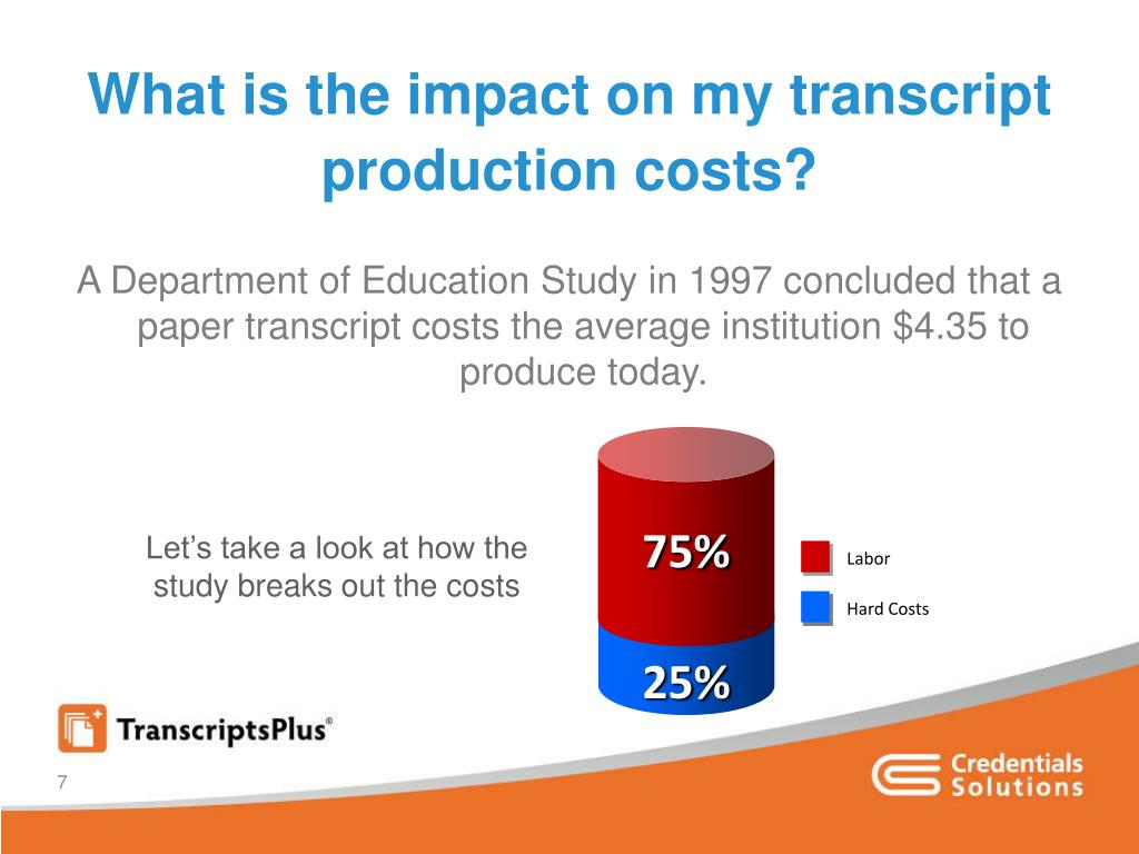 What is the impact on my transcript production costs?