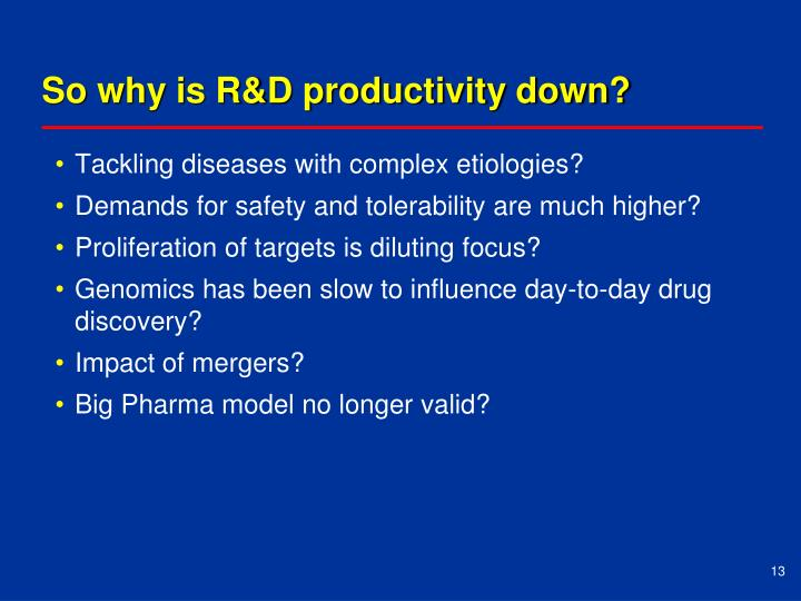 So why is R&D productivity down?