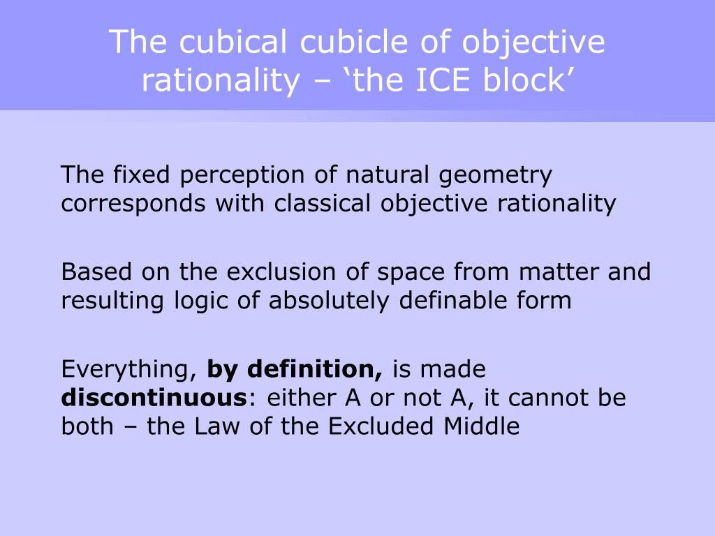 The cubical cubicle of objective rationality – 'the ICE block'