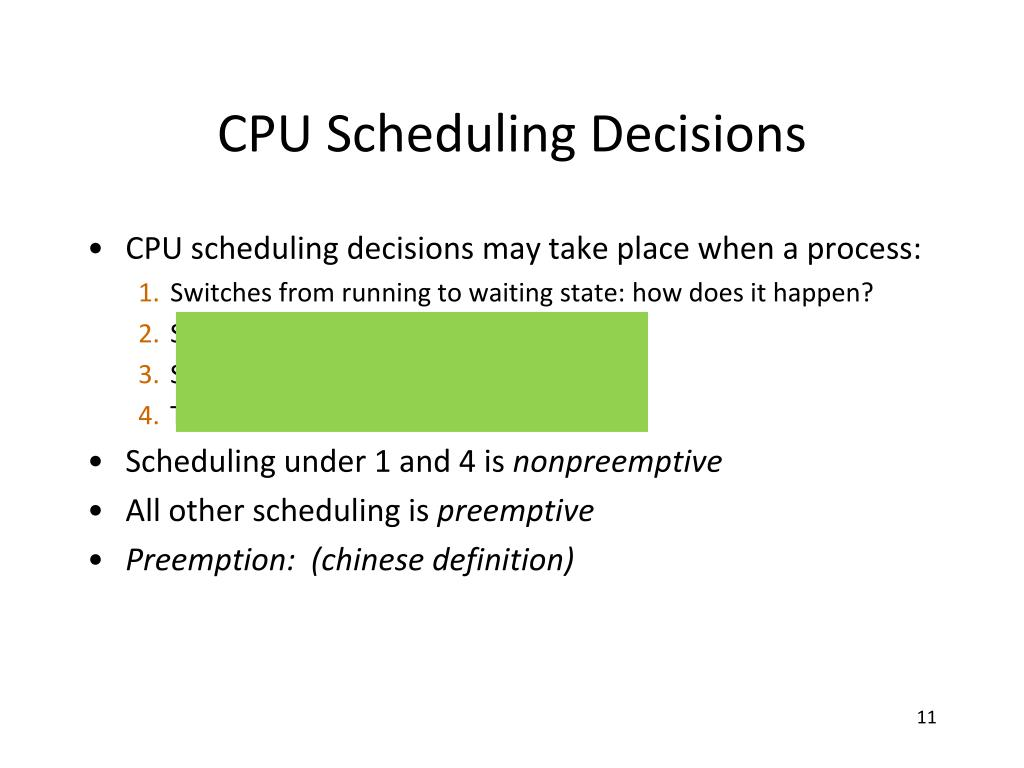 CPU Scheduling Decisions