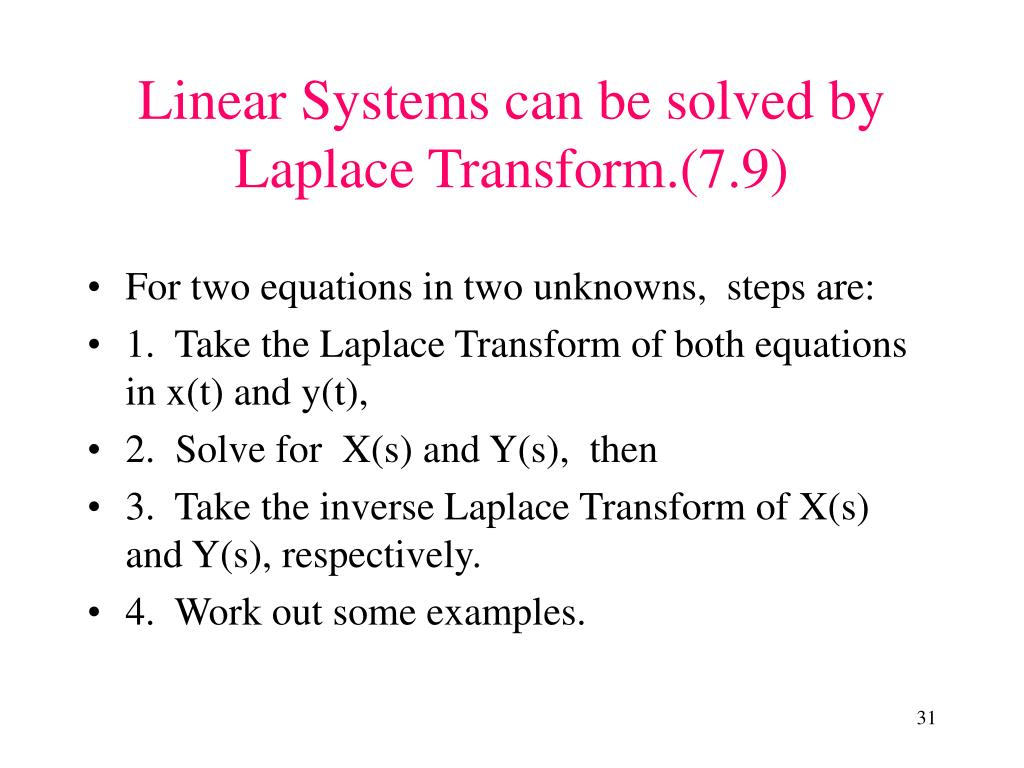 Linear Systems can be solved by Laplace Transform.(7.9)