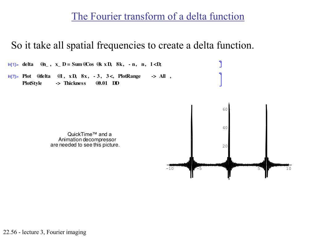 The Fourier transform of a delta function