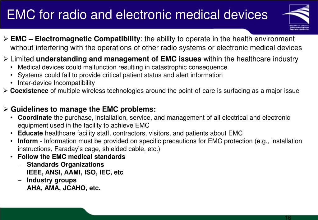EMC for radio and electronic medical devices