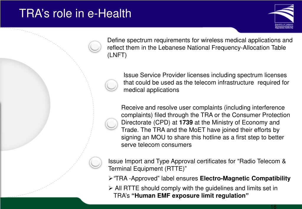 TRA's role in e-Health