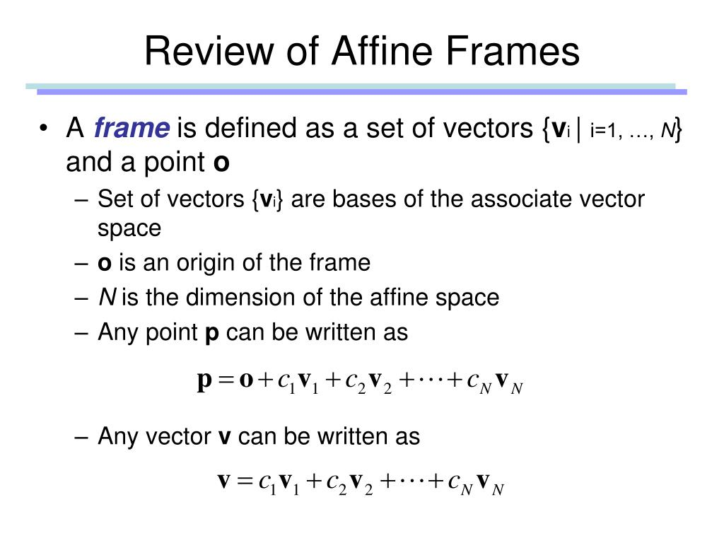 Review of Affine Frames