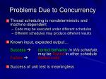problems due to concurrency