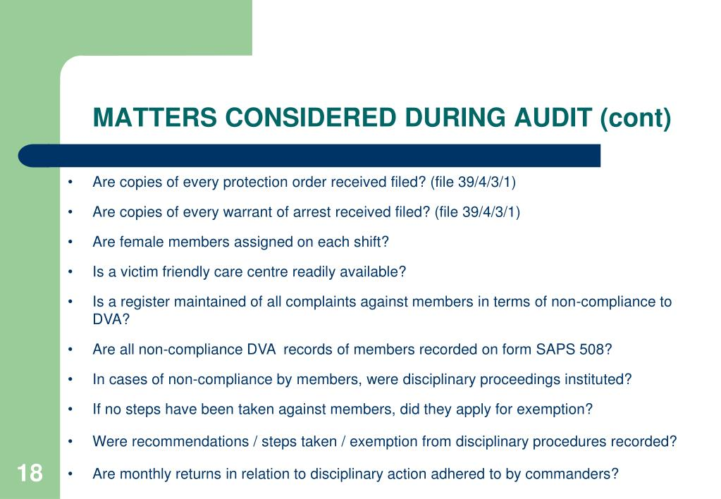 MATTERS CONSIDERED DURING AUDIT (cont)