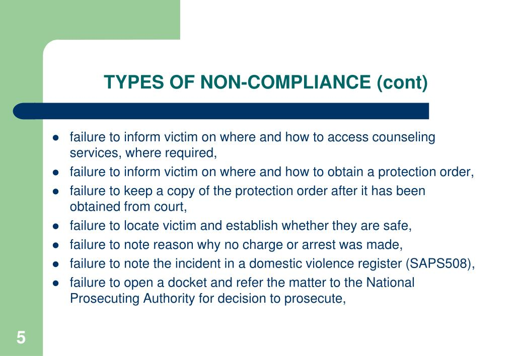 TYPES OF NON-COMPLIANCE (cont)