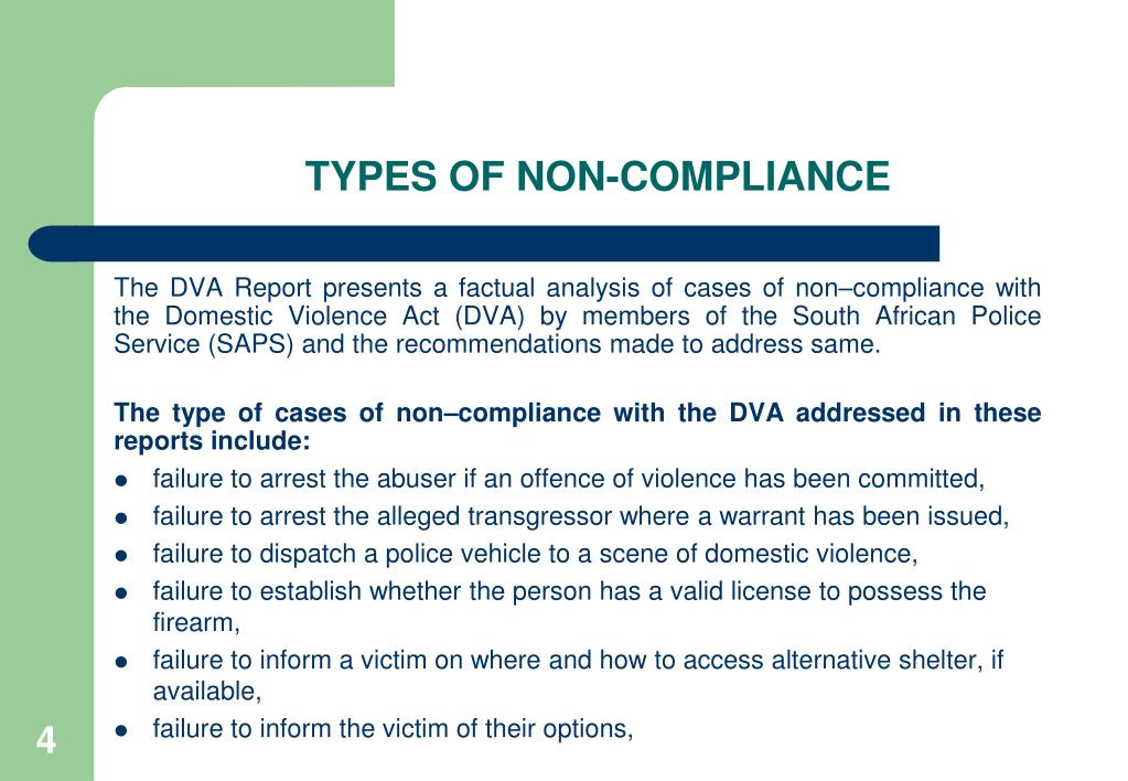 TYPES OF NON-COMPLIANCE