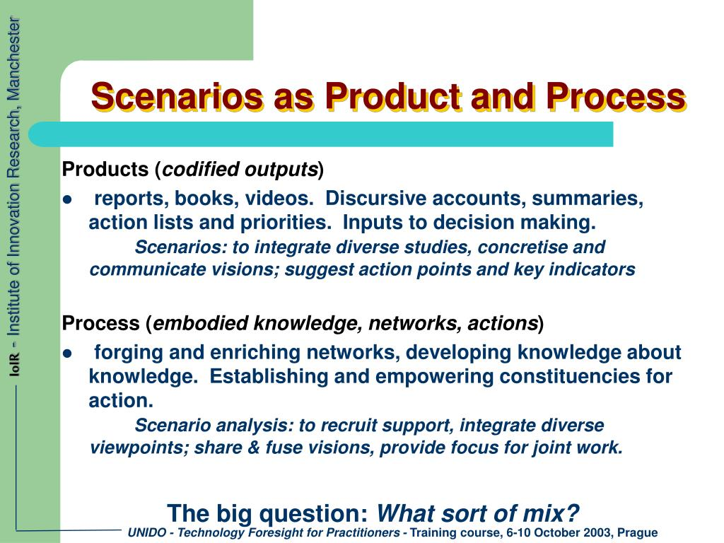 Scenarios as Product and Process