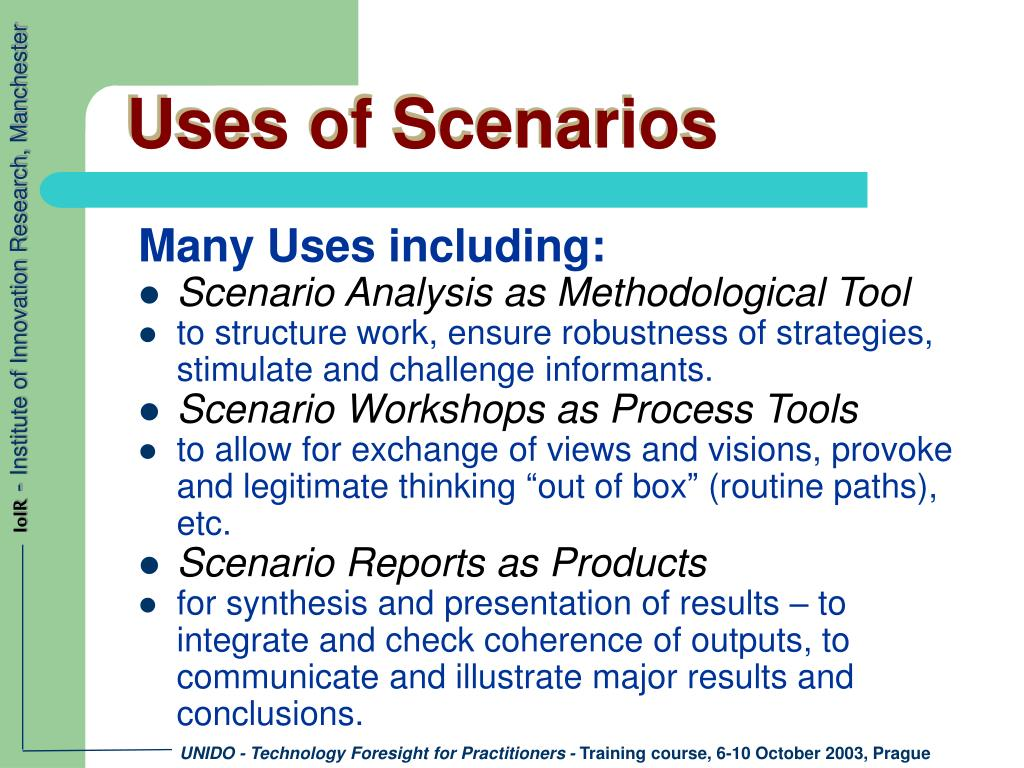 Uses of Scenarios