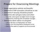 prepare for downsizing meetings