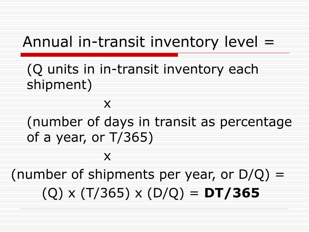 Annual in-transit inventory level =