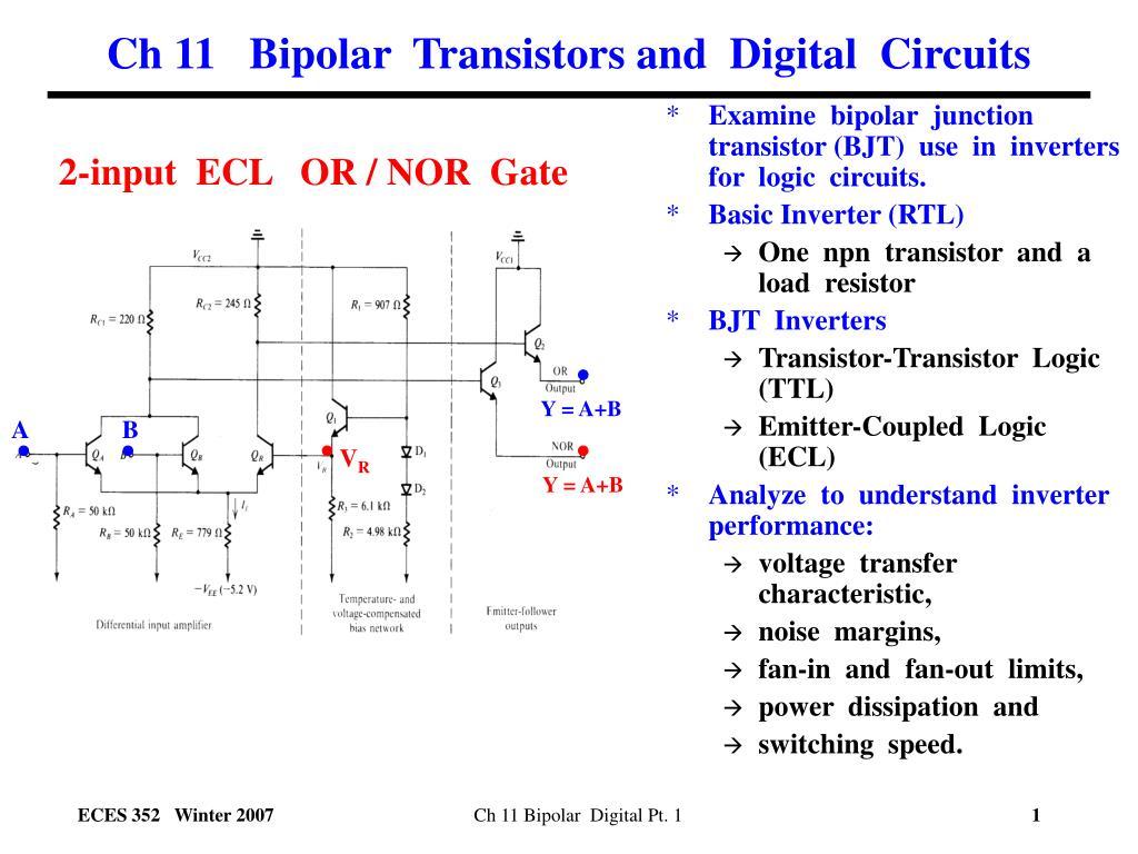 Ppt Ch 11 Bipolar Transistors And Digital Circuits Powerpoint Transistor Inverter Circuit N