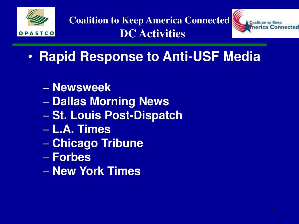 Rapid Response to Anti-USF Media