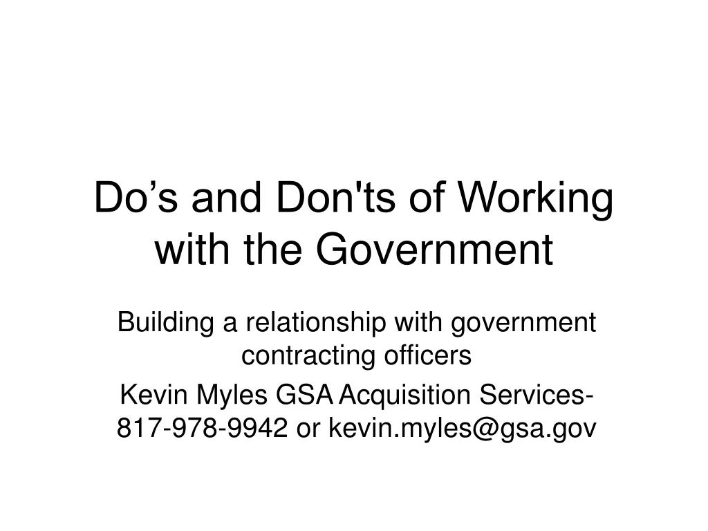 do s and don ts of working with the government l.