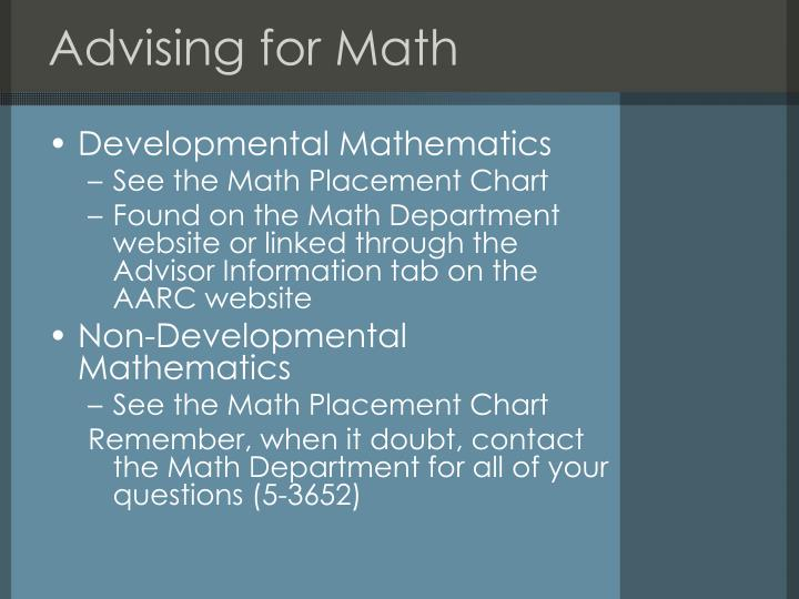 Advising for Math