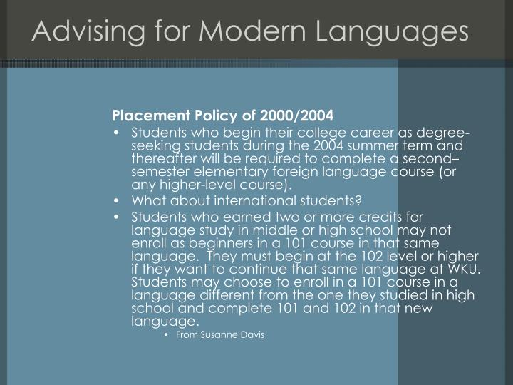 Advising for Modern Languages
