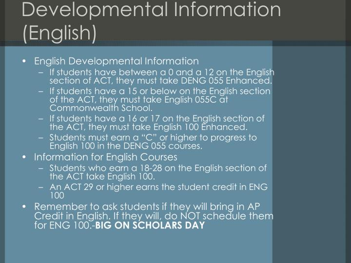 Developmental Information (English)