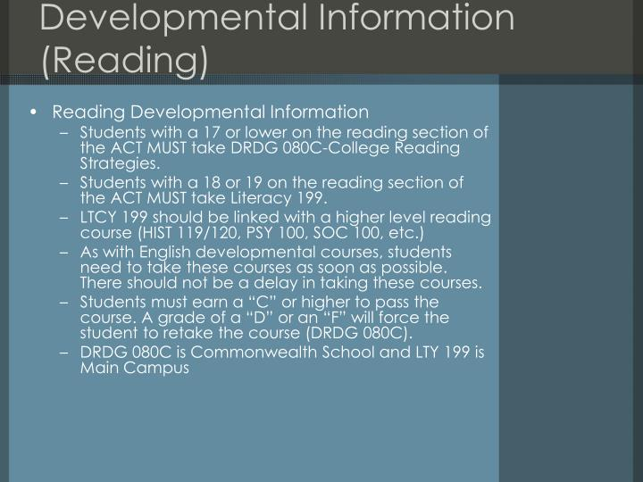 Developmental Information (Reading)