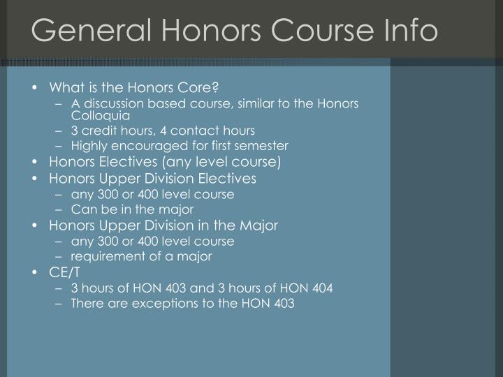 General Honors Course Info