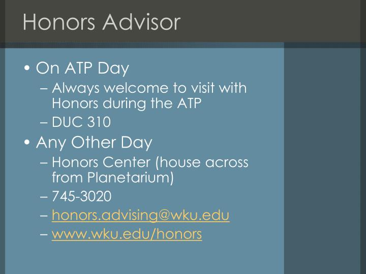 Honors Advisor
