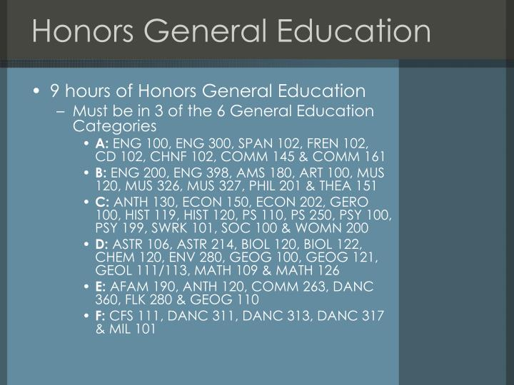 Honors General Education