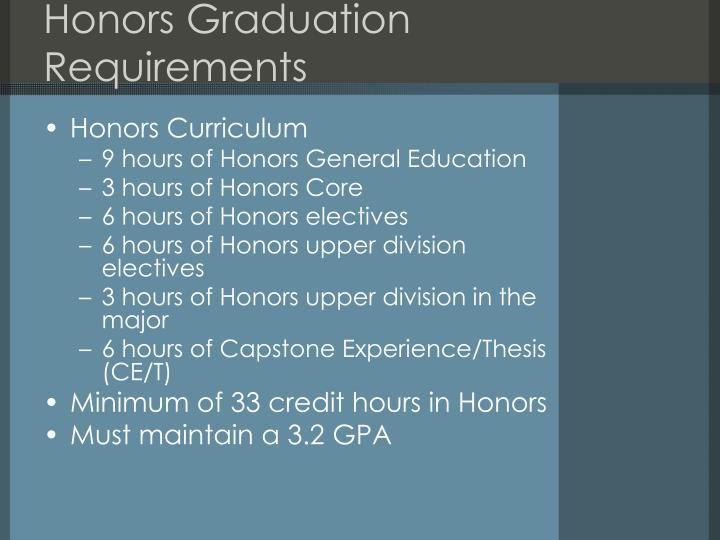 Honors Graduation Requirements
