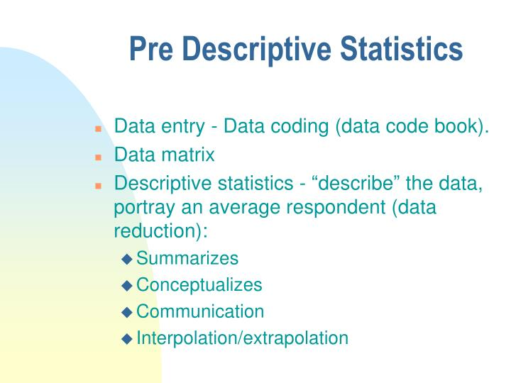 Pre descriptive statistics