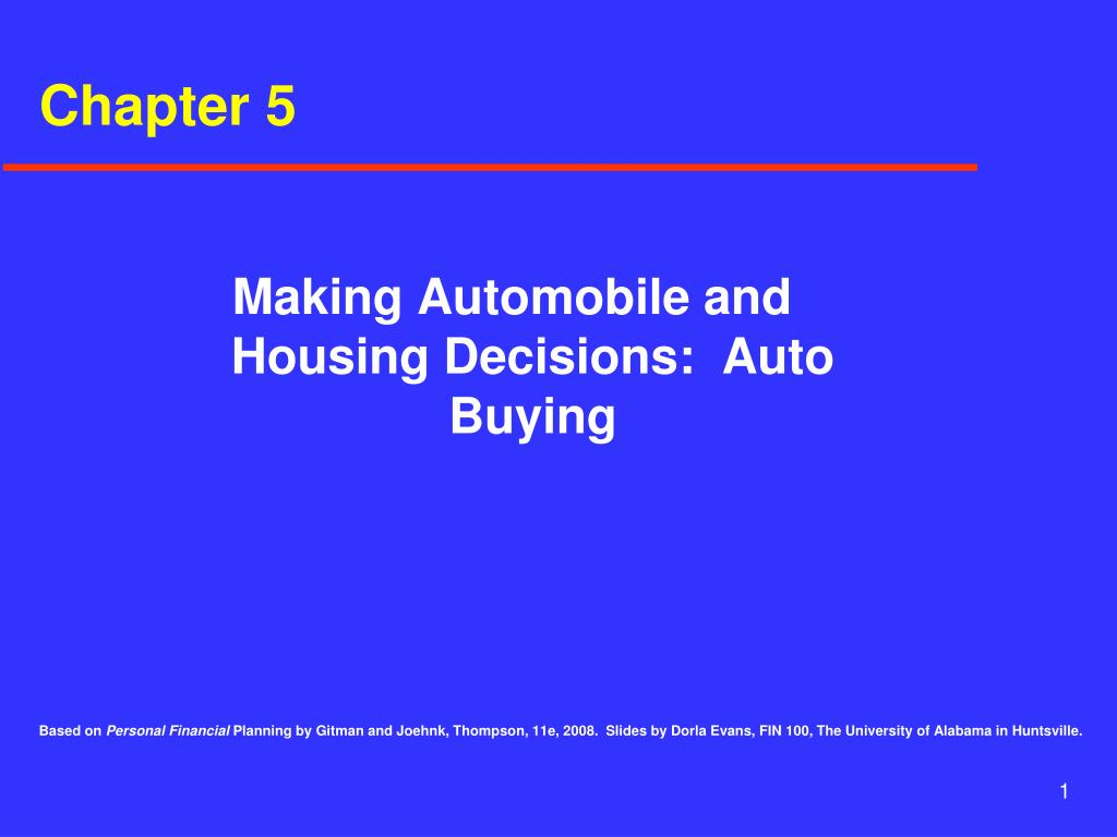 making automobile and housing decisions auto buying l.