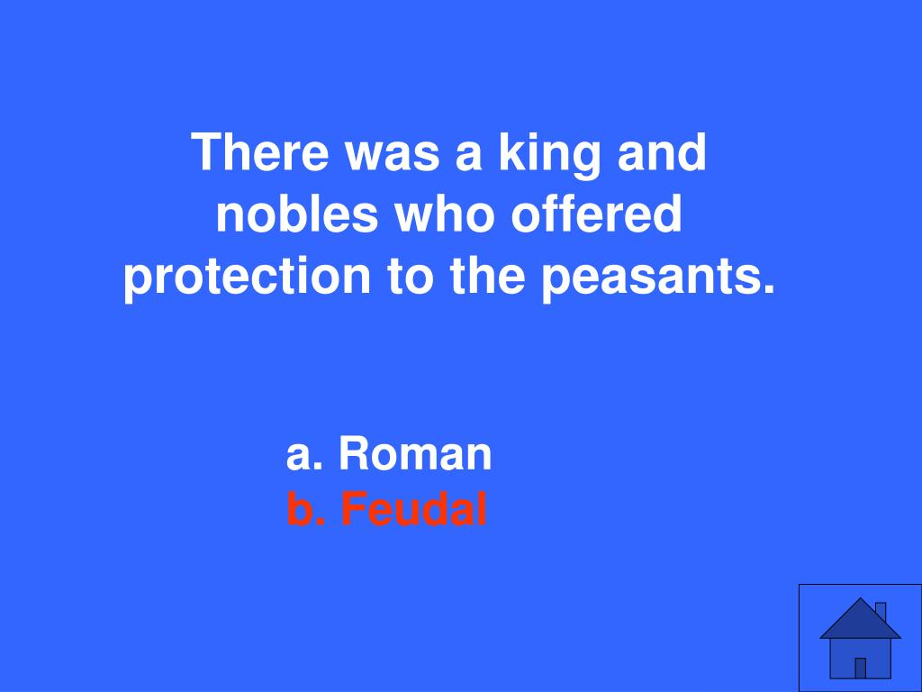There was a king and nobles who offered protection to the peasants.