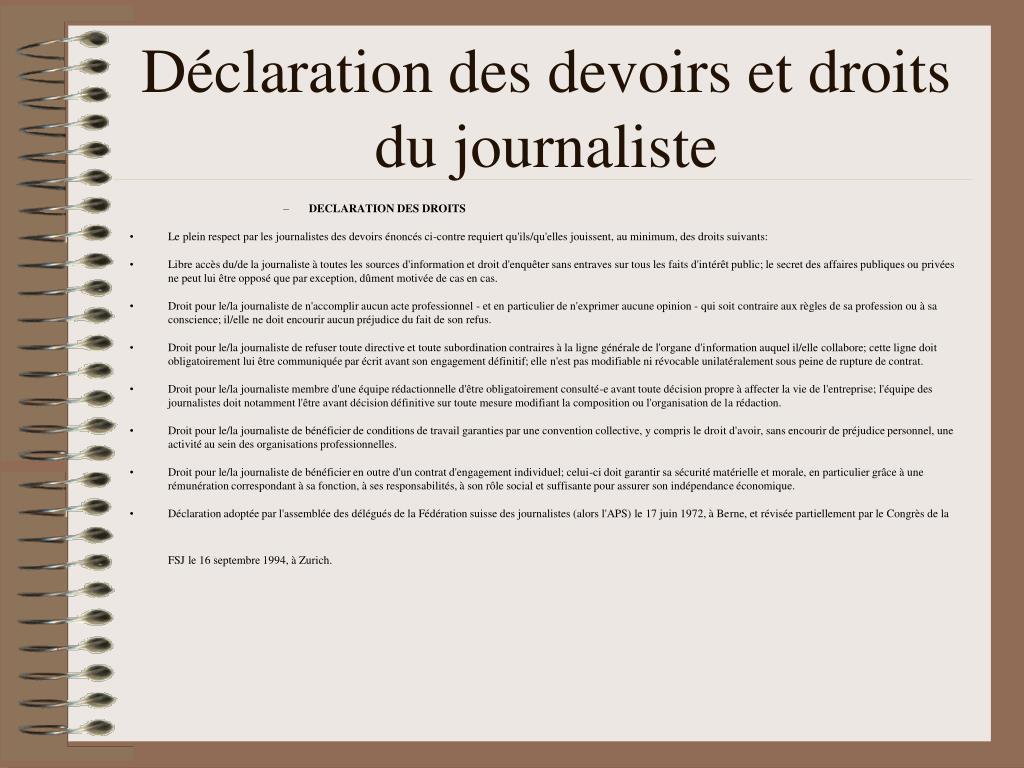 Déclaration des devoirs et droits du journaliste