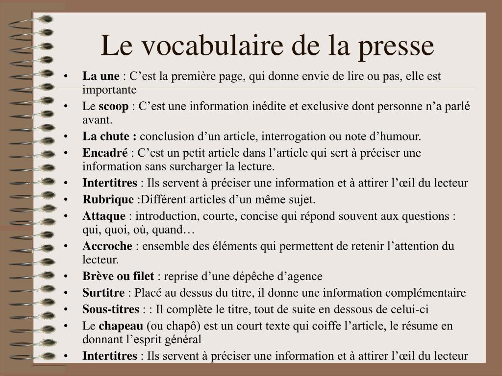 Le vocabulaire de la presse