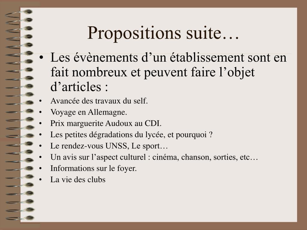 Propositions suite…