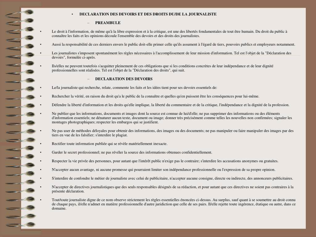 DECLARATION DES DEVOIRS ET DES DROITS DU/DE LA JOURNALISTE