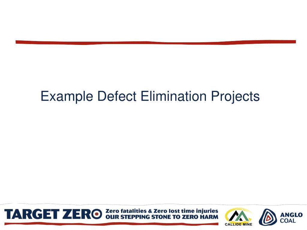 Example Defect Elimination Projects
