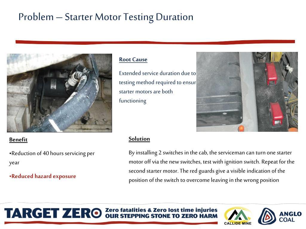 Problem – Starter Motor Testing Duration