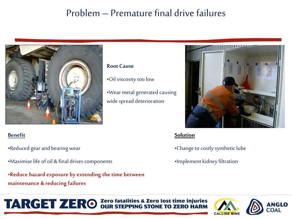 Problem – Premature final drive failures
