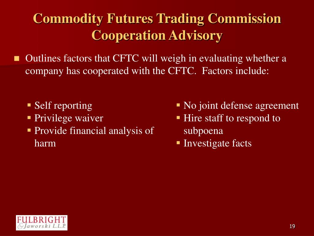 Commodity Futures Trading Commission Cooperation Advisory