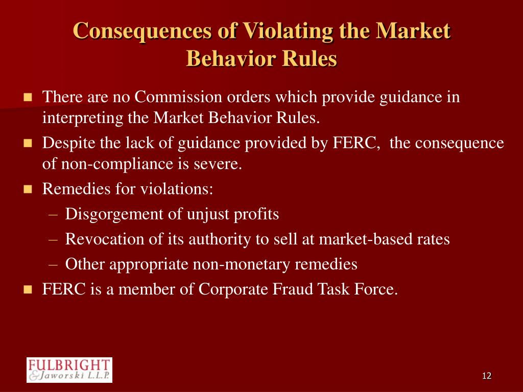 Consequences of Violating the Market Behavior Rules