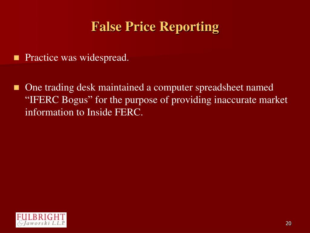 False Price Reporting