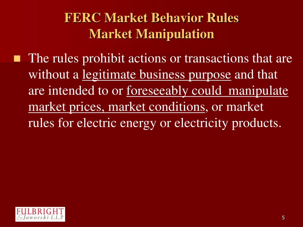 FERC Market Behavior Rules