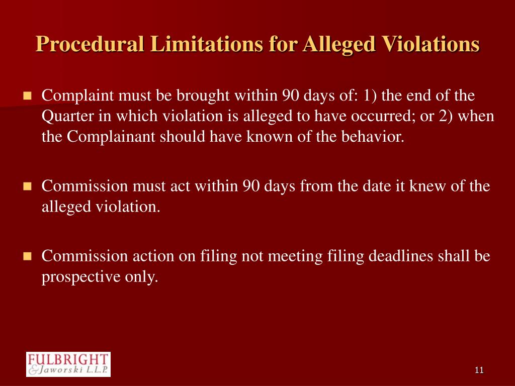 Procedural Limitations for Alleged Violations