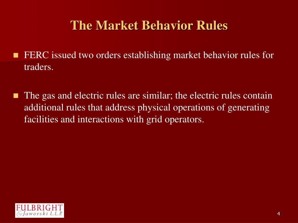 The Market Behavior Rules