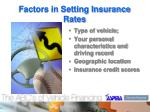 factors in setting insurance rates