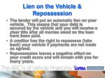lien on the vehicle repossession
