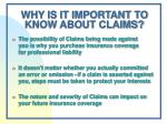 why is it important to know about claims