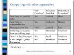 comparing with other approaches