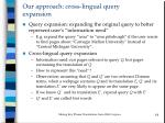 our approach cross lingual query expansion